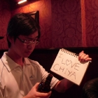 [Unknown] with <3 Chiya sign. Trying to imply the alcohol made him do it but it  just ain't true.