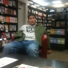 Classy Southrop taking a drunken nap in Waterstones book store.